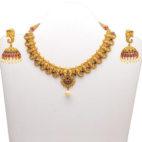 Amazing Elephant Design Gold look Red & Green Stones Necklace Set