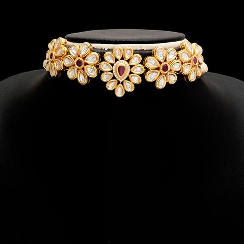 Blissful Kundan Meena Choker Necklace