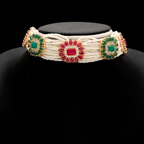 Majesty Multi Colour Stones and Pearl Choker