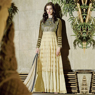 Dazzling Cream - Olive Green Anarkali Suit