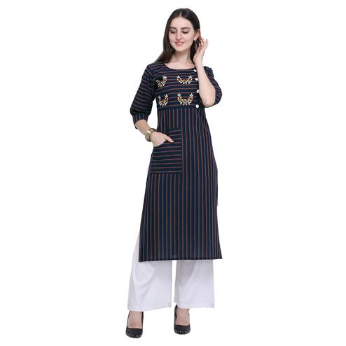 Arresting Navy Blue Colored Casual Wear Embroidered Cotton Kurti-Palazzo Set