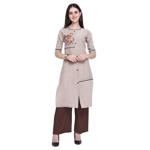 Desirable Off White Colored Casual Wear Embroidered Cotton Kurti-Palazzo Set