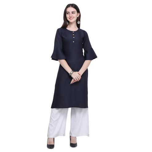 Exotic Navy Blue Colored Casual Wear Embroidered Rayon Kurti-Palazzo Set