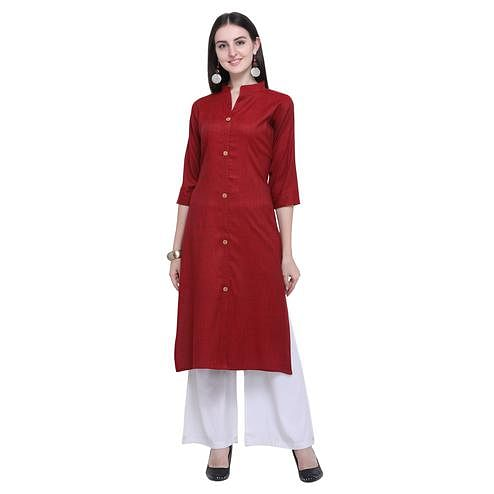 Sophisticated Red Colored Casual Wear Embroidered Rayon Kurti-Palazzo Set