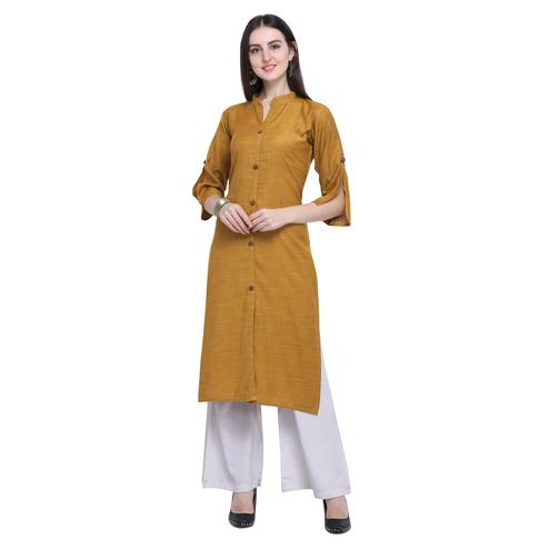 Trendy Dark Mustard Yellow Colored Casual Wear Embroidered Rayon Kurti-Palazzo Set