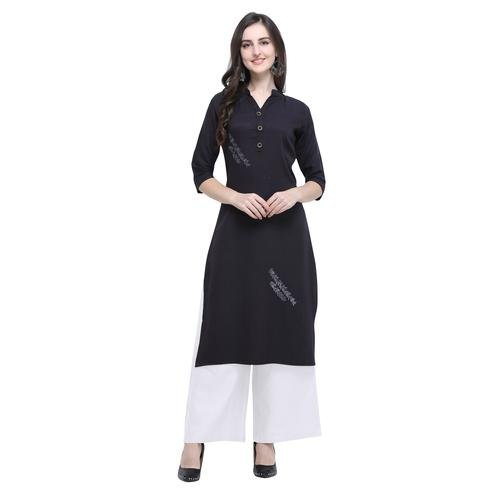 Elegant Black Colored Casual Wear Embroidered Rayon Kurti-Palazzo Set