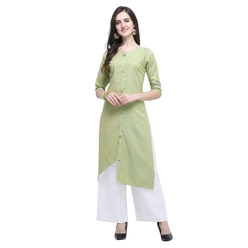 Radiant Pista Green Colored Casual Wear Embroidered Rayon Kurti-Palazzo Set