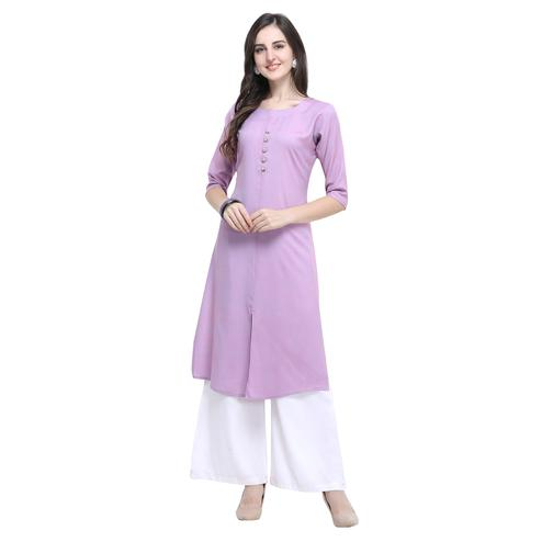 Opulent Lavender Colored Casual Wear Embroidered Rayon Kurti-Palazzo Set