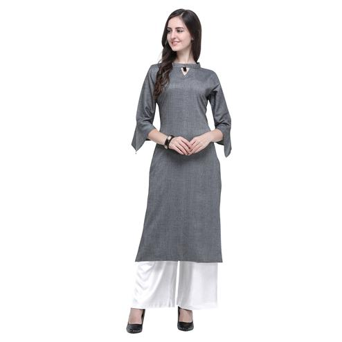 Energetic Grey Colored Casual Wear Embroidered Rayon Kurti-Palazzo Set