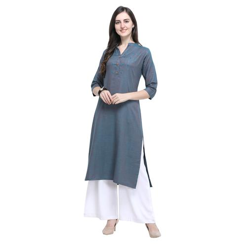 Glowing Greyish Blue Colored Casual Wear Embroidered Rayon Kurti-Palazzo Set