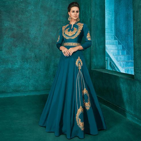 Classy Rama Blue Colored Party Wear Embroidered Silk Gown