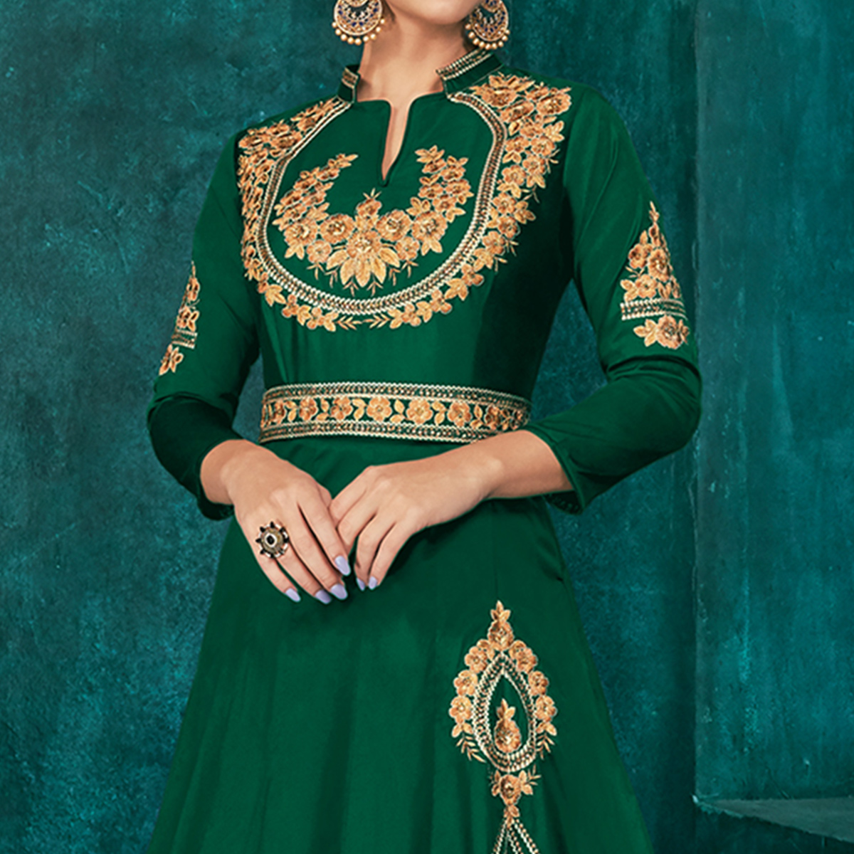 Prominent Dark Green Colored Party Wear Embroidered Silk Gown