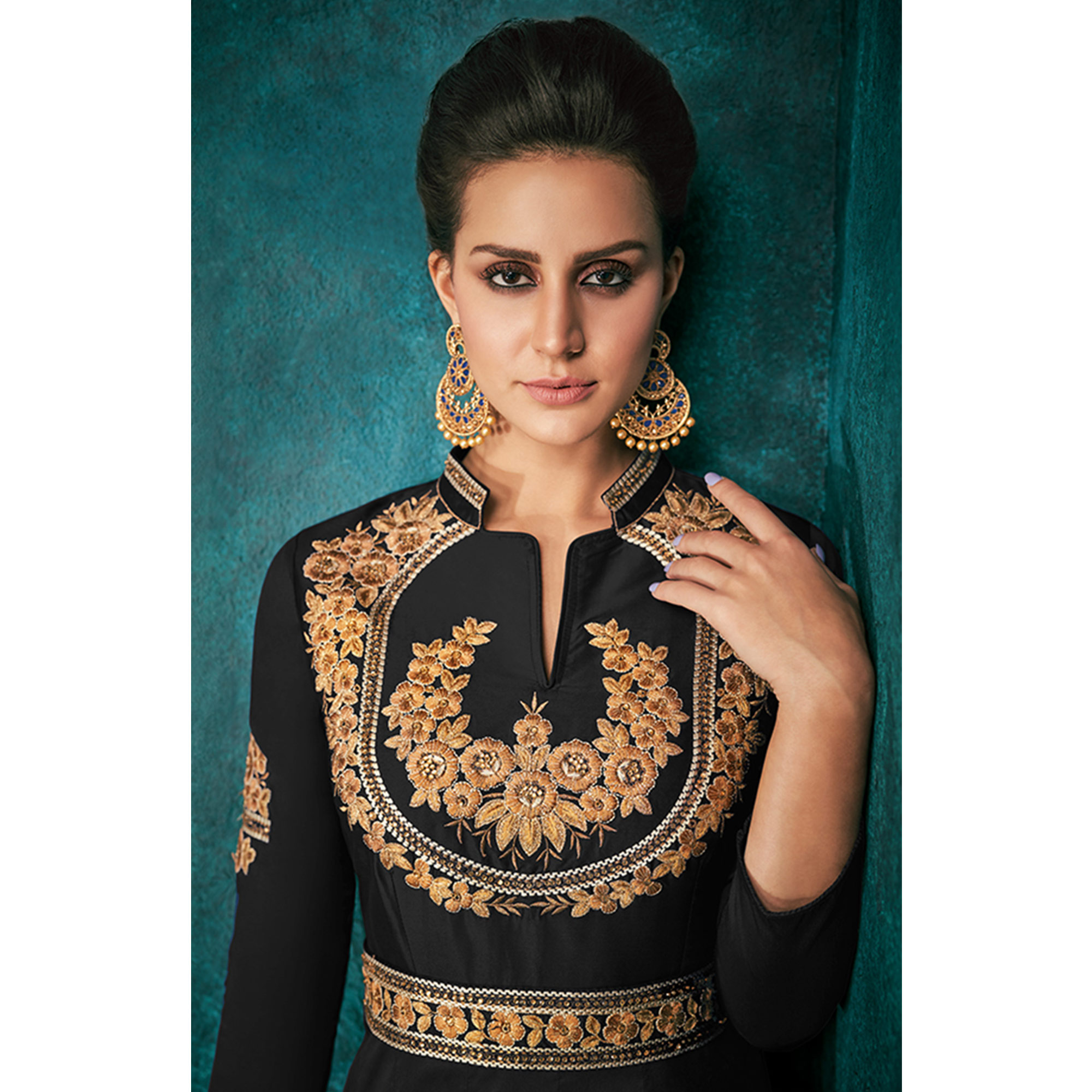 Capricious Black Colored Party Wear Embroidered Silk Gown