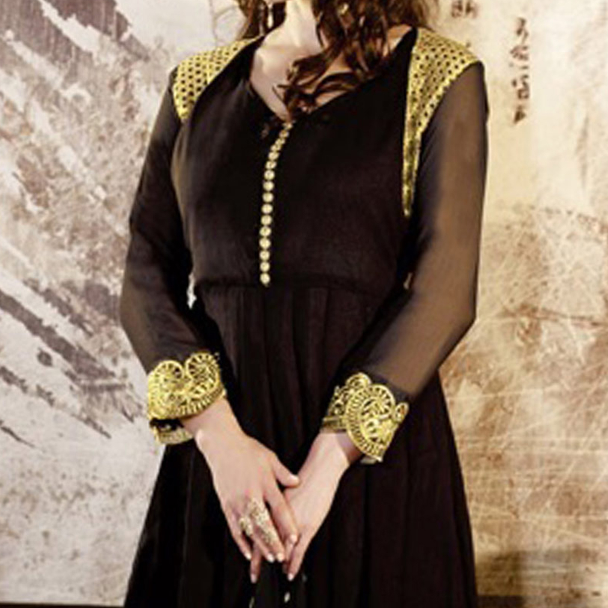 Amazing Black Embroidered Work Anarkali Suit