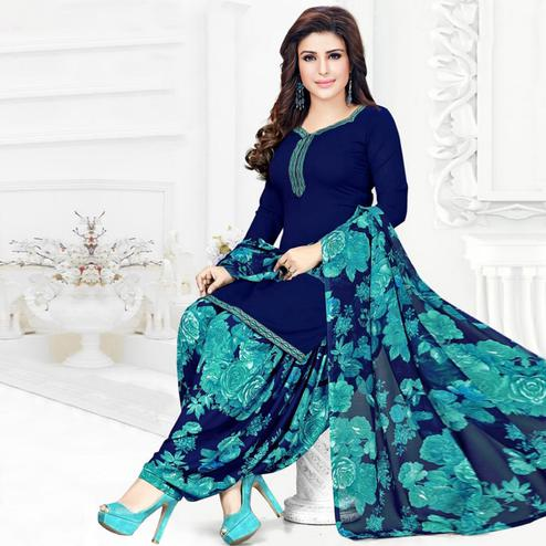 Energetic Navy Blue Colored Casual Printed Crepe Patiala Dress Material