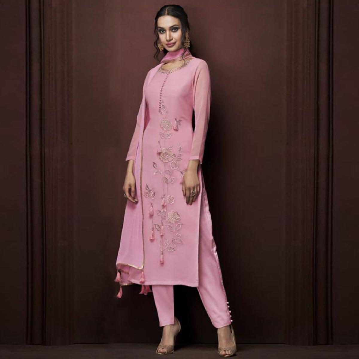 Prominent Pink Colored Partywear Embroidered Georgette Suit