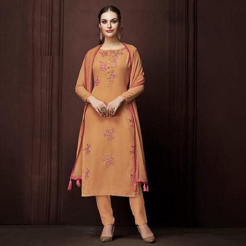 Appealing Orange Colored Partywear Embroidered Georgette Suit