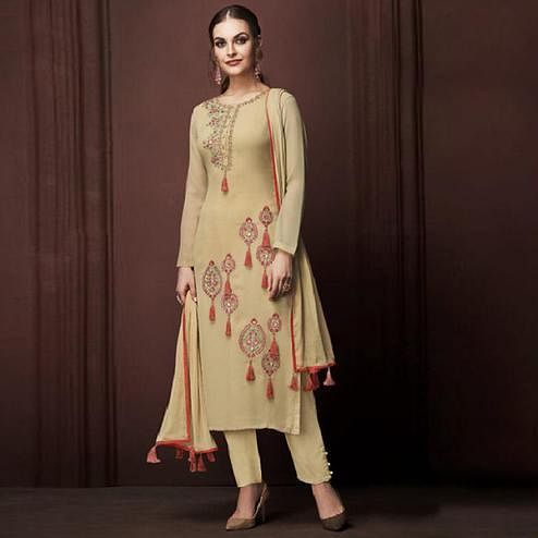 Entrancing Beige Colored Partywear Embroidered Georgette Suit