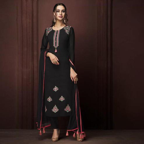 Groovy Black Colored Partywear Embroidered Georgette Suit