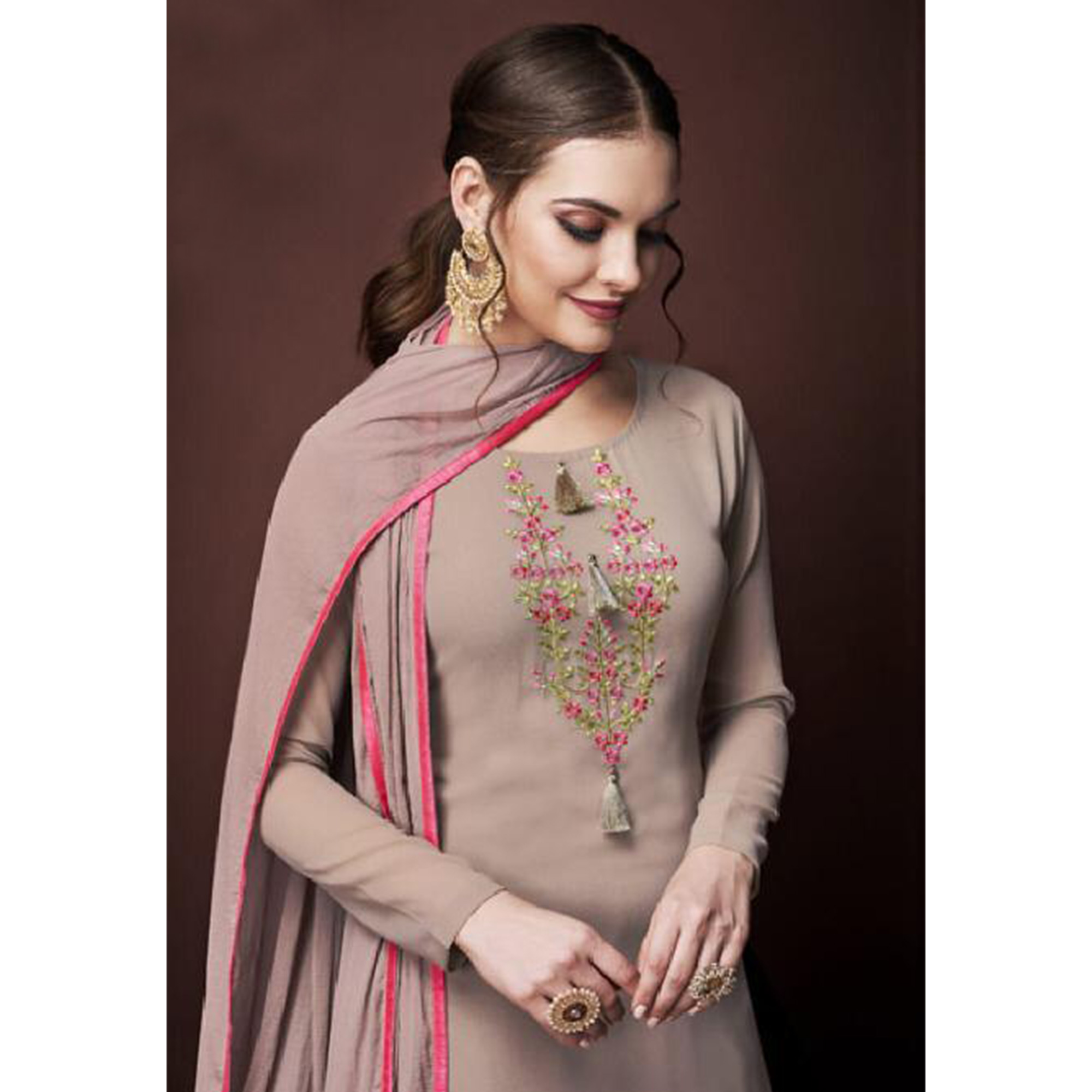 Adorning Light Brown Colored Partywear Embroidered Georgette Suit
