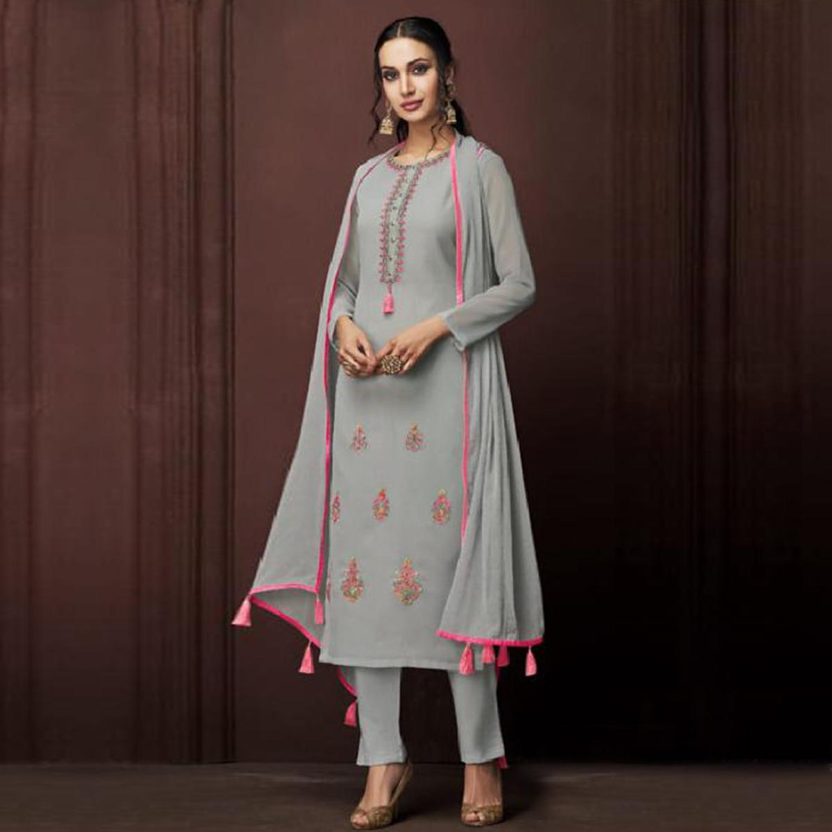 Exclusive Grey Colored Partywear Embroidered Georgette Suit