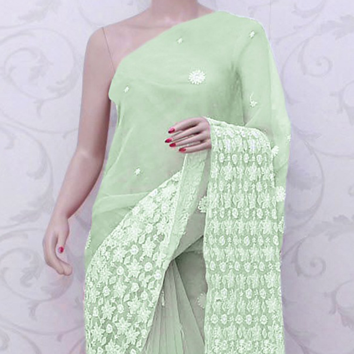 Amazing Mint Green Colored Partywear Embroidered Organza Silk Saree