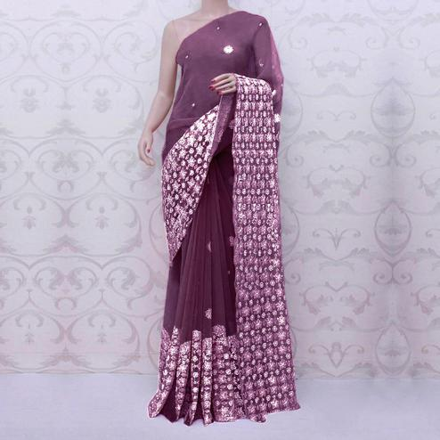 Blissful Wine Colored Partywear Embroidered Organza Silk Saree