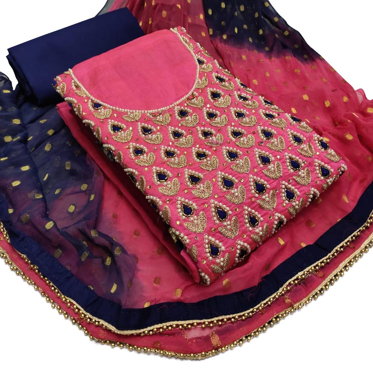 Imposing Pink Colored Partywear Embroidered Chanderi Silk Dress Material