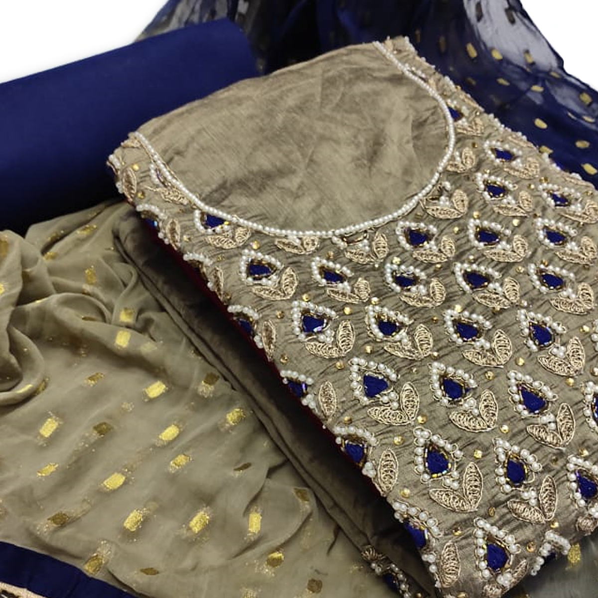 Lovely Grey Colored Partywear Embroidered Chanderi Silk Dress Material