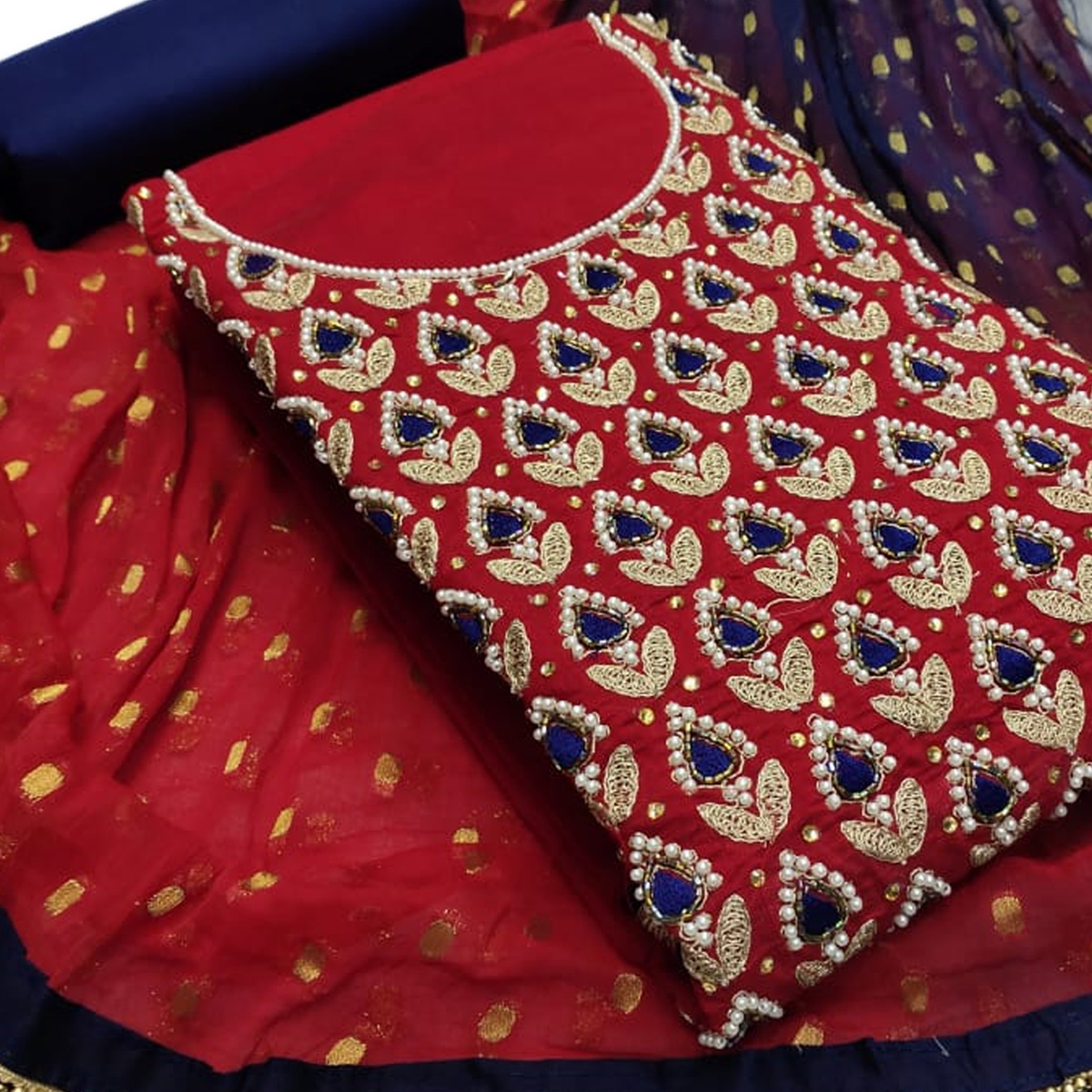 Majesty Red Colored Partywear Embroidered Chanderi Silk Dress Material