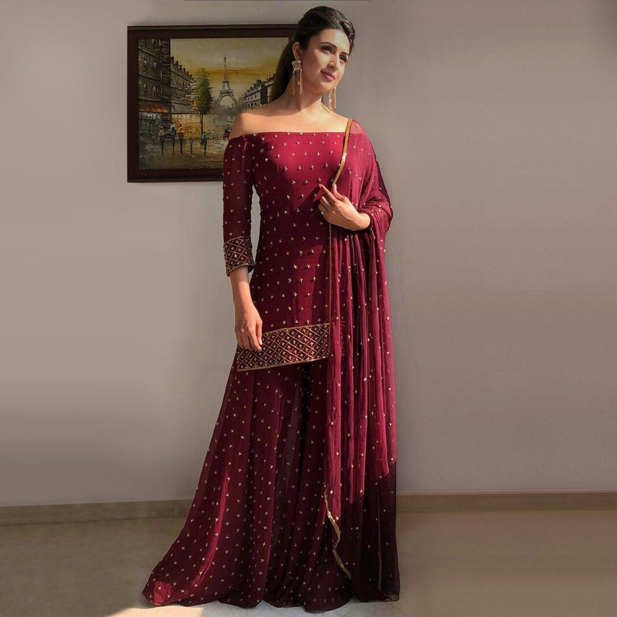 Amazing Maroon Colored Partywear Embroidered Satin Georgette Palazzo Suit