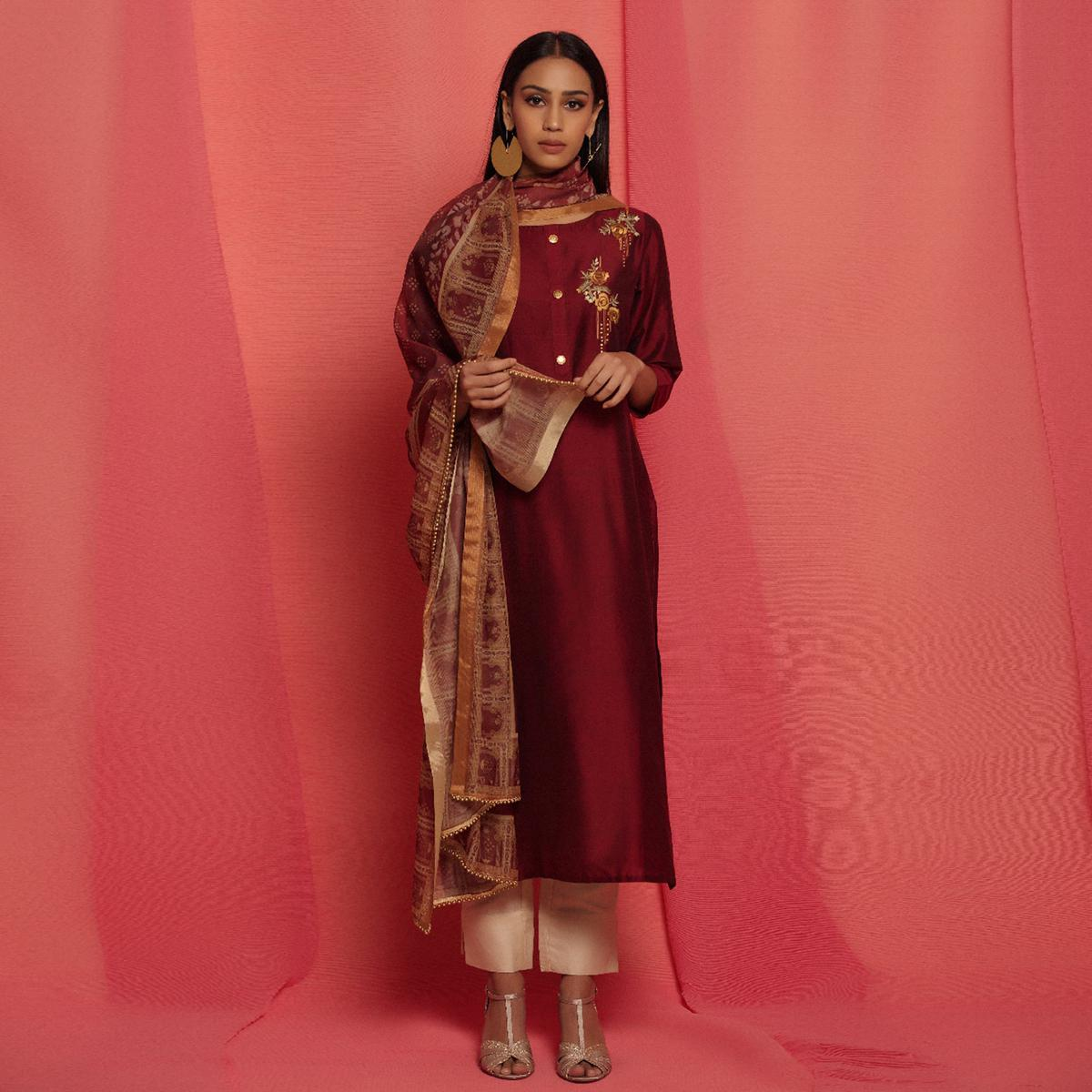 Dazzling Maroon Colored Partywear Embroidered Viscose Kurti With Dupatta