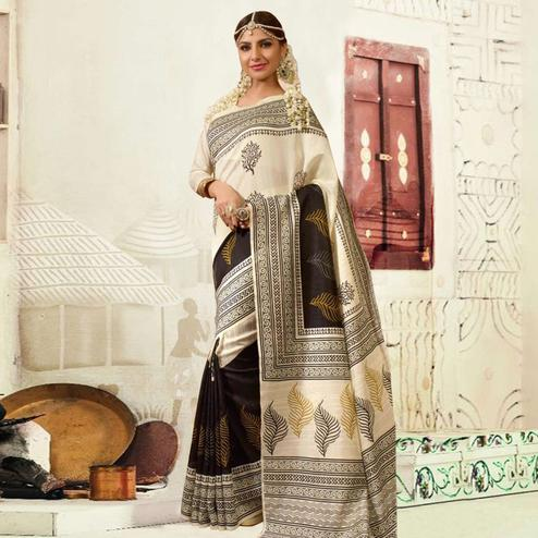 Cream Colored Casual Wear Printed Bhagalpuri Silk Saree