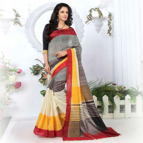 Exotic Multicolor Colored Casual Wear Printed Bhagalpuri Silk Saree