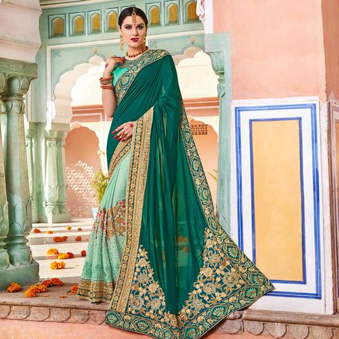 Opulent Green Colored Party Wear Embroidered Georgette Saree