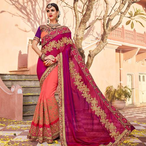 Energetic Pink Colored Party Wear Embroidered Georgette Saree