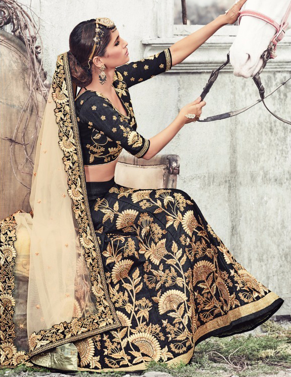 Black - Beige Heavy Embridered Lehenga Saree