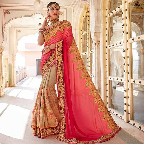 Exceptional Chiku - Pink Colored Party Wear Embroidered Georgette Saree
