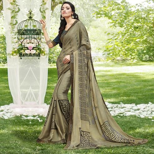 Pleasance Light Green Colored Casual Printed Chiffon Saree
