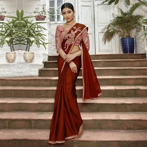 Ravishing Maroon Colored Partywear Embroidered Chiffon Saree