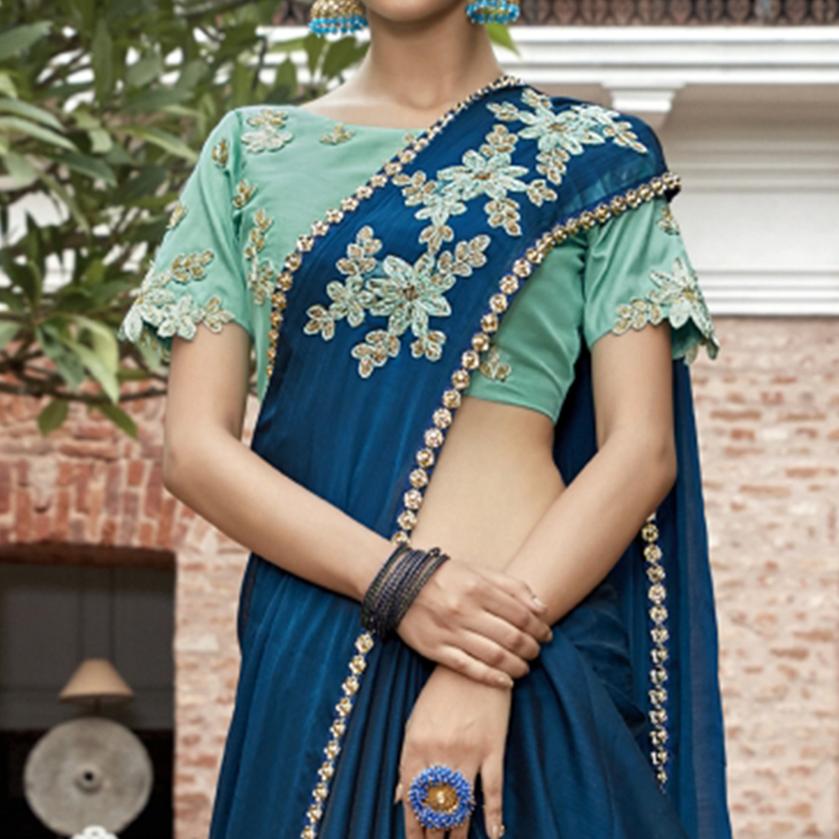 Dazzling Blue Colored Partywear Embroidered Chiffon Saree