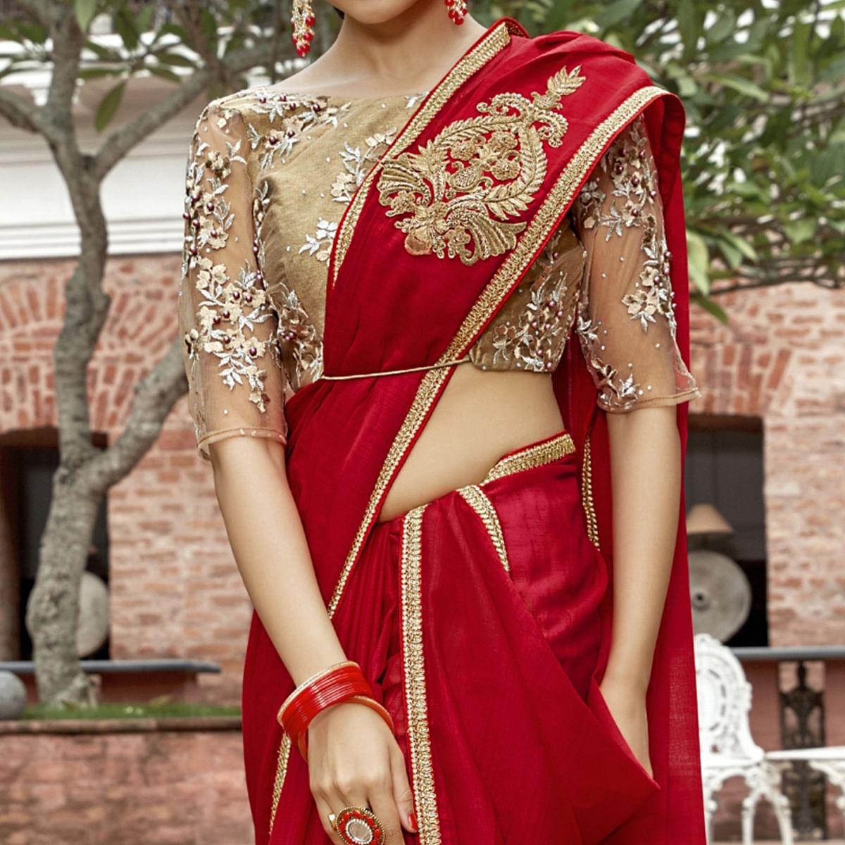 Surpassing Red Colored Partywear Embroidered Chiffon Saree