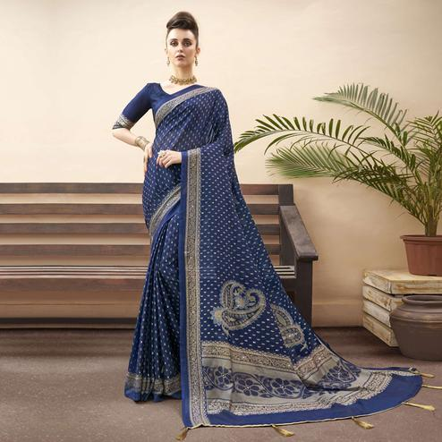 Lovely Navy Blue Colored Festive Wear Printed Chiffon Saree