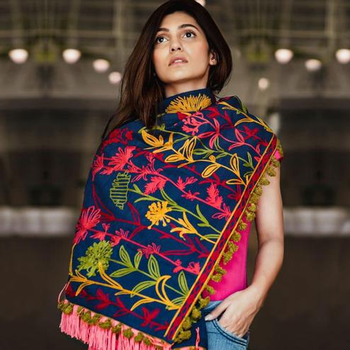 Energetic Blue Colored Printed Khadi Cotton Stole