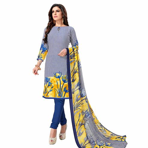 Intricate Blue Colored Casual Wear Printed Crepe Dress Material