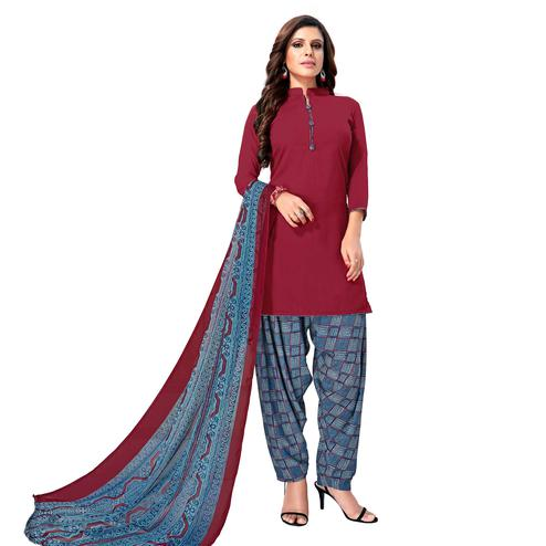 Arresting Deep magenta Pink Colored Casual Wear Printed Crepe Patiala Suit