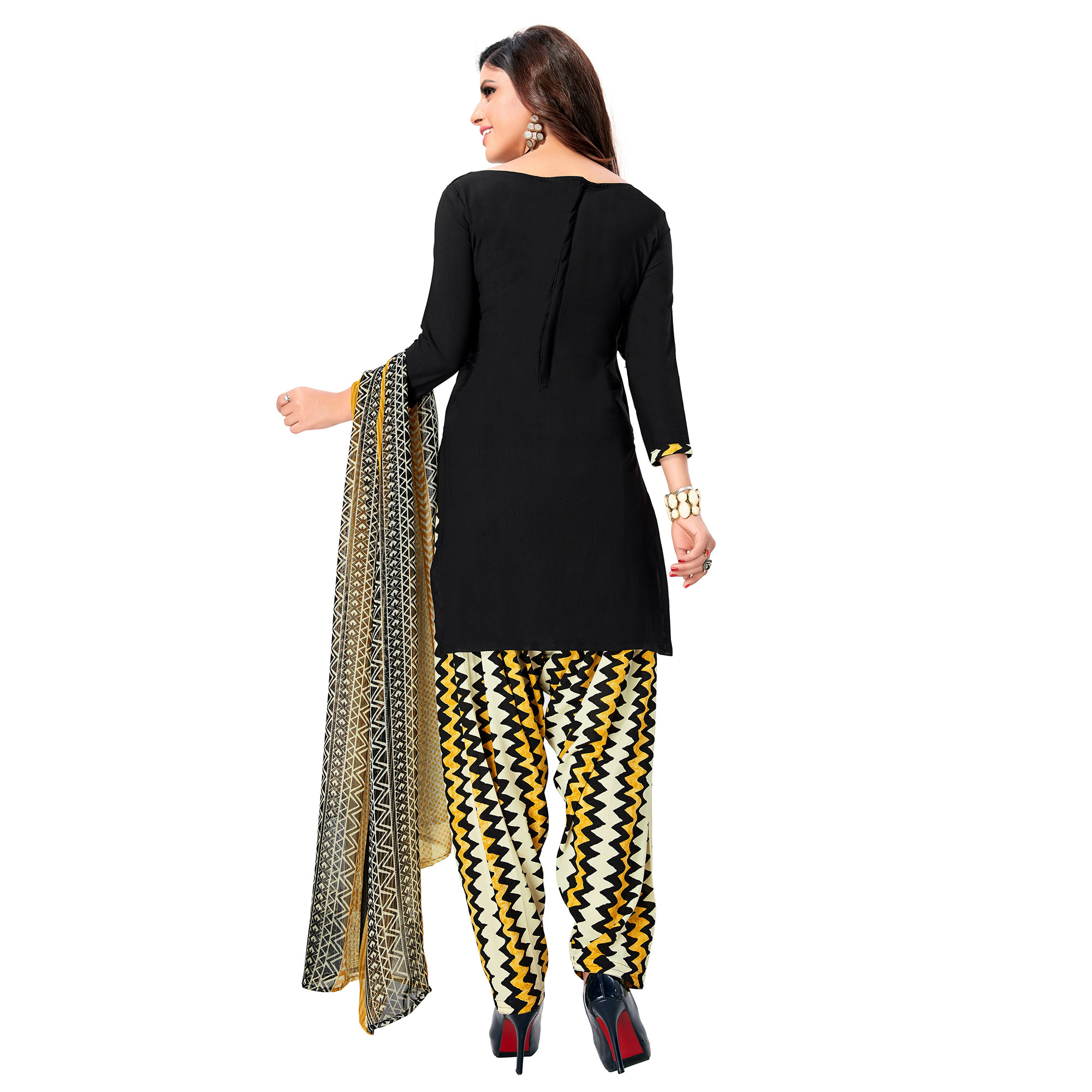 Exotic Black Colored Casual Wear Printed Crepe Patiala Suit