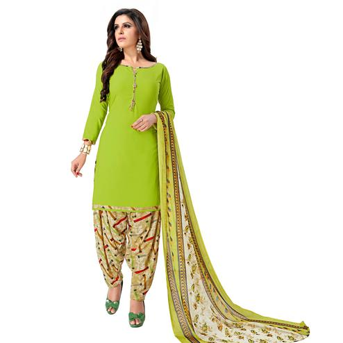 Sophisticated Parrot Green Colored Casual Wear Printed Crepe Patiala Suit