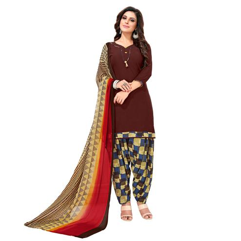 Radiant Maroon Colored Casual Wear Printed Crepe Patiala Suit