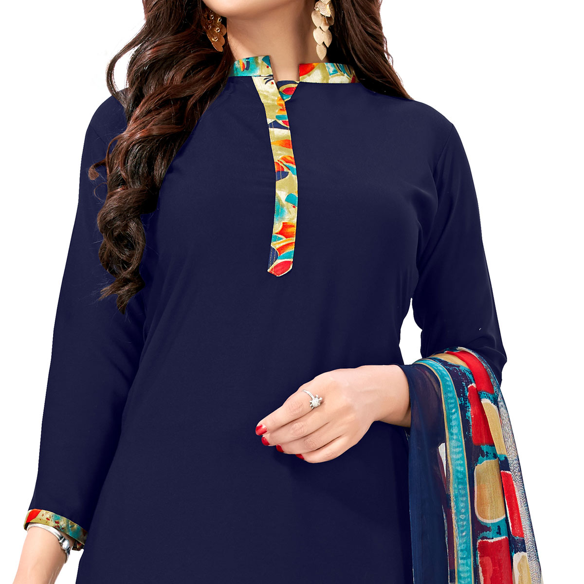 Pleasant Navy Blue Colored Casual Wear Printed Crepe Patiala Suit